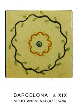 """Iman del model de rajola anomenat """"ou ferrat"""". Barcelona, segle XIX."""